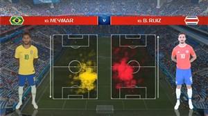 آمار نیمه اول بازی برزیل - کاستاریکا