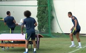 تنیس فوتبال بازیکنان تیم ملی برزیل در تمرین