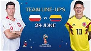 شماتیک ترکیب تیم های لهستان - کلمبیا  (روسیه2018)