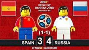 شبیه سازی بازی اسپانیا و روسیه با لگو (روسیه2018)