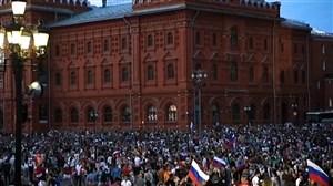 جشن روسها پس از صعود به مرحله یک چهارم