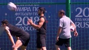 تمرین تیم ملی اروگوئه برای مقابله با فرانسه