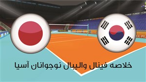 خلاصه فینال والیبال نوجوانان آسیا ژاپن 3 - کره 1