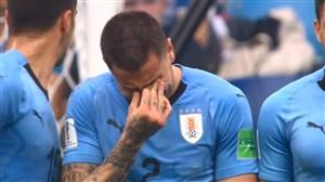 گریه بازیکن اروگوئه پیش از سوت پایان بازی