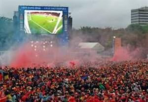شادی هواداران بلژیک پس از غلبه بر برزیل