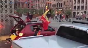 خوشحالی هواداران بلژیک در جریان بازی با برزیل