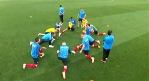 گرم کردن بازیکنان کرواسی و انگلیس قبل از بازی
