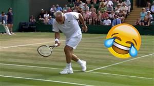 بازی تخیلی و کمدی منصور بهرامی در مسابقات تنیس ویمبلدون