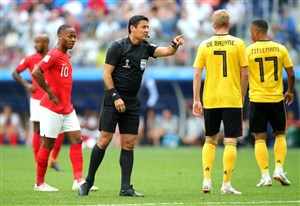 عملکرد فغانی و تیم داوری در بازی بلژیک-انگلیس(ردهبندیجامجهانی)