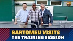 حضور اریک آبیدال و بارتومئو در تمرین بارسلونا