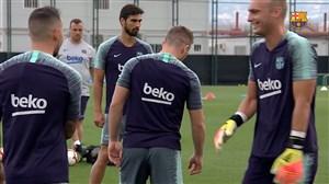 تمرین پیشفصل بارسلونا با حضور بازیکنان تیم دوم