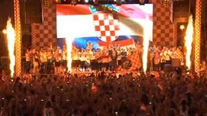 جشن نایب قهرمانی باشکوه تیم ملی کرواسی در زاگرب