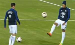 تکنیکهای دیدنی ستارگان فوتبال هنگام تمرین کردن