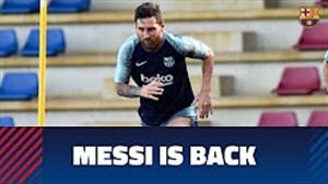 پیوستن مسی به تمرینات پیشفصل بارسلونا