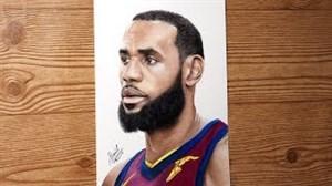نقاشی زیبا از چهره لبران جیمز
