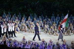رژه کاروان ایران در مراسم افتتاحیه بازیهای آسیایی جاکارتا